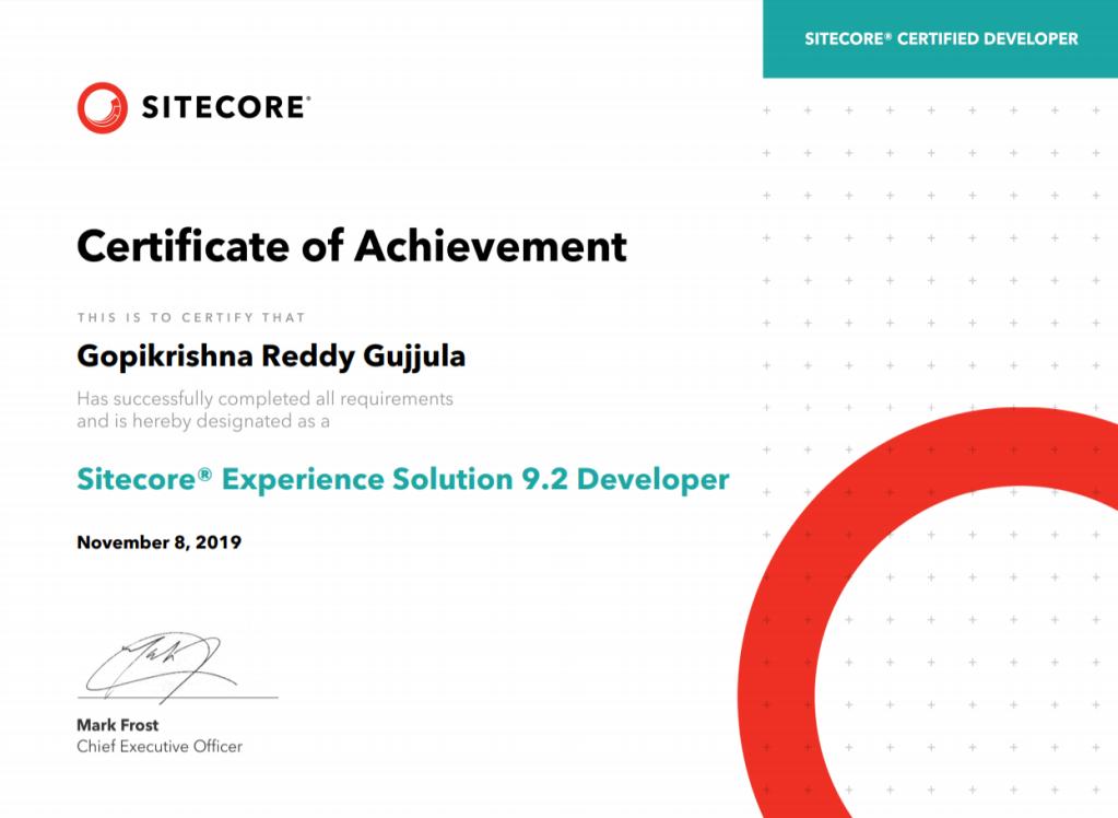 Sitecore Certification 9.2
