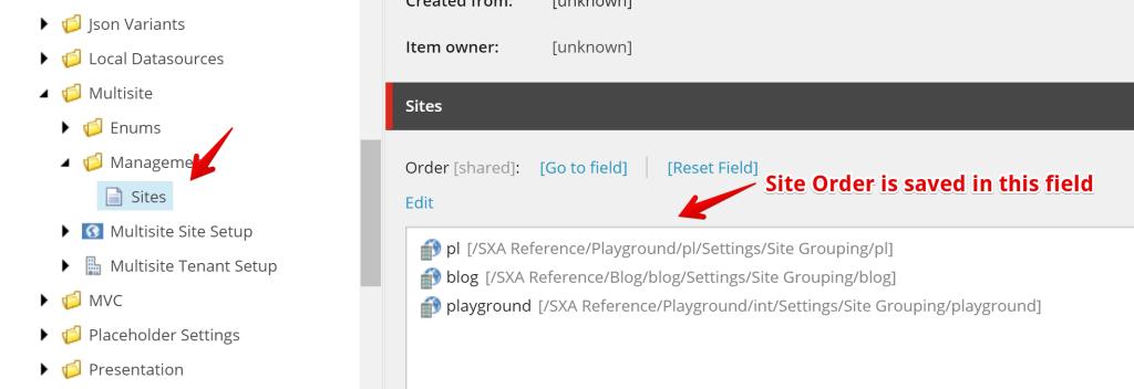 Site Order Item